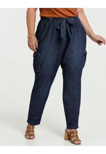 Calça Jeans Feminina Clochard Cargo Plus Size