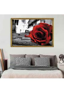 Quadro Love Decor Com Moldura Rose On The Floor Dourado Médio