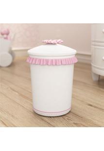 Lixeira Bebe Menina Branco/Rosa Nina E O Balão Grão De Gente Rosa