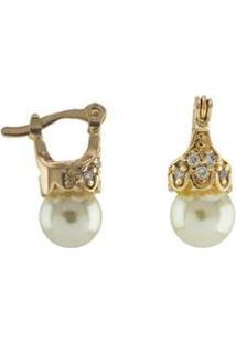 Brinco Barbara Strauss Lady Em Pérola Lalique E Zircônia Revestido Em Ouro 18K - Feminino-Branco