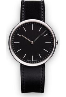 Uniform Wares Relógio 'M35 Two-Hand' De Aço Inoxidável E Couro - Preto
