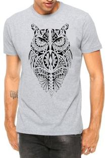 Camiseta Criativa Urbana Coruja Tribal Corpo Tattoo Manga Curta - Masculino-Cinza