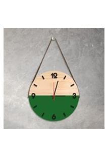 Relógio De Parede Decorativo Adnet Verde Com Números Em Relevo Médio