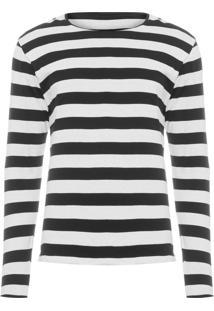 Camiseta Masculina Listras Tricot - Preto
