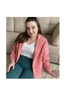 Casaco Liso Em Lã Batida Com Bolsos Curve & Plus Size   Ashua Curve E Plus Size   Rosa   Gg