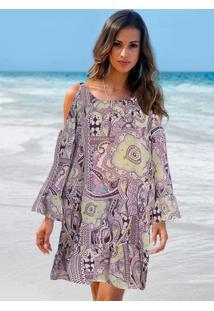 Vestido Saída De Praia Lilás