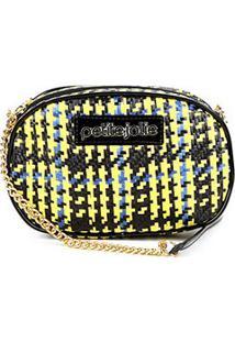 Bolsa Petite Jolie Mini Bag Rebel Palha Chess Feminina - Feminino-Amarelo