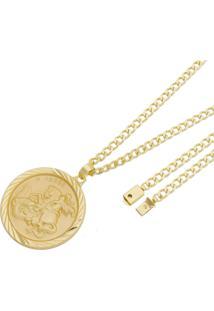 Pingente São Jorge Com Corrente Grumet Fecho Gaveta Tudo Joias Folheado A Ouro 18K Dourada