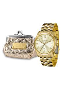 Kit De Relógio Analógico Lince Feminino + Bolsa Porta Moedas - Lrg4456L Kt73C2Kx Dourado