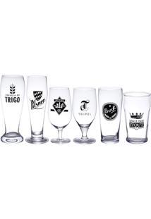 Conjunto 6 Copos De Vidro Diversos Tamanhos Beer - Bon Gourmet - Transparente