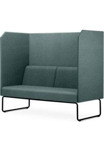 Sofa Privativo Pix Com Divisoria E Assento Mescla Verde Base Aco Preto - 55075 - Sun House