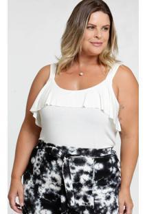 Blusa Feminina Babado Plus Size Alças Finas