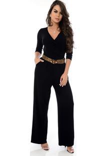 Macacão Pantalona B'Bonnie Florence Preto
