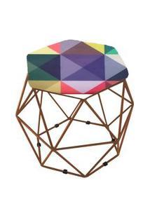 Puff Aramado Bronze Assento Hexagonal Suede Triângulo Colorido - Ds Móveis