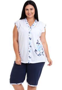 Pijama Bermudoll Regata Estampado Plus Size Feminino Luna Cuore