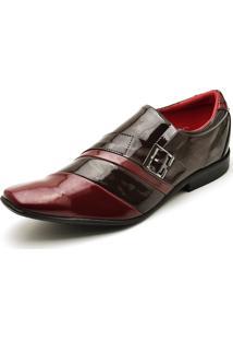 Sapato Social Verniz Top Franca Shoes Café E Vermelho