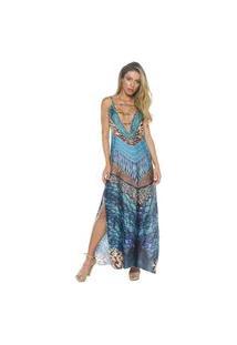 Vestido Lybethras Longo Amazônia Azul