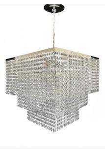 Lustre Quadrado Cristal Acrílico Bivolt Vitória 45X45X70