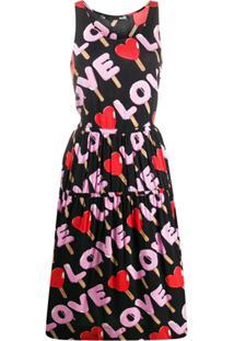 Love Moschino Vestido Evasê Com Estampa Gráfica - Preto