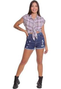 Shorts Le Julie Mom Cintura Alta Jeans Feminino - Feminino-Azul
