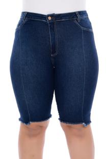 Bermuda Jeans Plus Size Azul Recorte-58