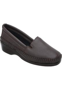 Sapato 3Ls3 Salto Anabela Pelica - Feminino-Marrom