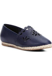 Sapatilha Couro Shoestock Espadrille Flat Flor Feminina - Feminino-Marinho