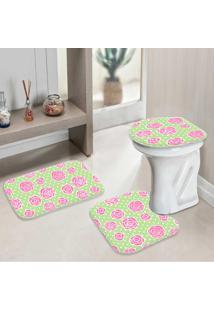 Jogo Tapetes Para Banheiro Floral Full - Único