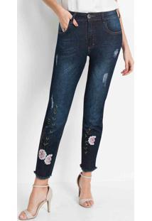 Calça Jeans Skinny Bordada Azul