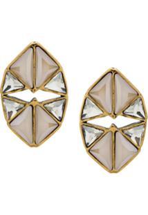 Camila Klein Par De Brincos Vazado Triângulos - Dourado