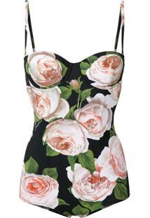 Dolce & Gabbana Maiô Balconette Floral - Preto
