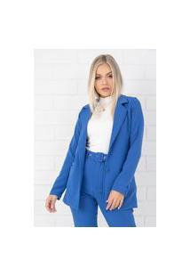 Blazer Pkd Estruturado Azul Bic