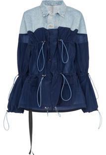 Unravel Project Denim And Nylon Hybrid Jacket - Azul