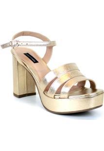 Sandália Emporionaka Plataforma Tiras Feminina - Feminino-Dourado
