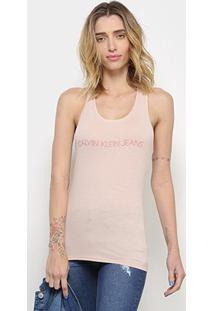 Regata Calvin Klein Logo Feminina - Feminino-Rosa Claro