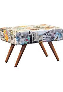Puff Decorativo Charme Retangular Estampado Jornal Color D07 - D'Rossi