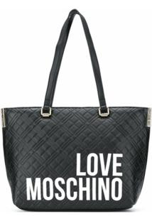 Love Moschino Quilted Logo-Print Tote - Preto