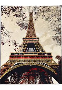 Tapete Torre Eiffel Retangular Veludo 48X90 Cm Creme