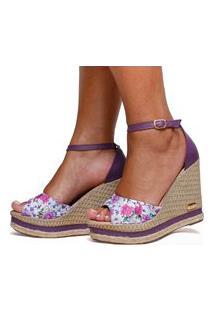 Sandália Anabela Plataforma Sb Shoes Ref.3201 Roxo / Floral