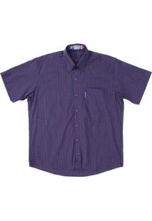 Camisa Manga Curta Xadrez Rodeo Western Masculina - Masculino-Azul Escuro