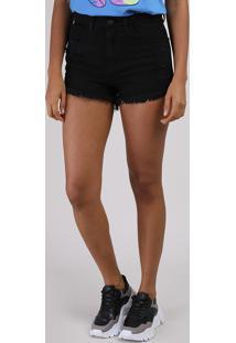 Short Jeans Feminino Cintura Alta Destroyed Com Barra Desfiada Preto