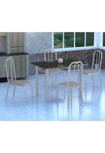 Conjunto De Mesa Genebra Com 4 Cadeiras Madri Branco Prata E Preto Listrado