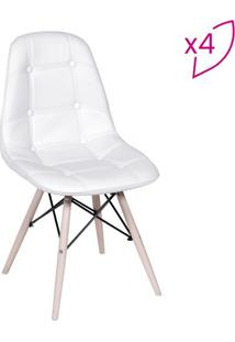 Jogo De Cadeiras Eames Com Botonãª- Branco- 4Pã§S-Or Design
