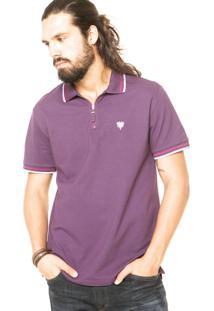 Camisa Polo Cavalera Zíper Vinho