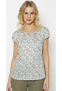 Blusa Floral Com Recortes Vazados-Off White & Verde Clarvip Reserva