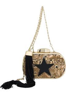 Bolsa Clutch Le Diamond Star Dourada
