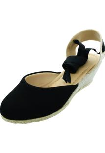 Sandalia Espadrille Anabela Hope Shoes Corda Preta - Kanui