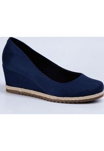 529322ea88 Scarpin Azul Salto Anabela feminino