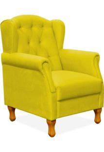 Poltrona Decorativa Para Sala De Estar Yara Corino Amarelo - Lyam Decor