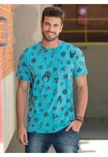 Camiseta Estampa Caveiras Azul Decote Redondo